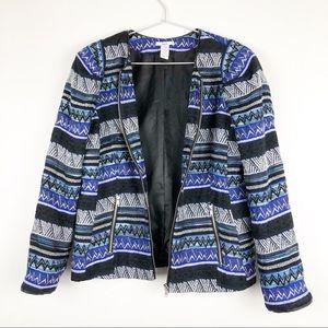 Bar III Blue Black Tweed Blazer Jacket XL Full Zip